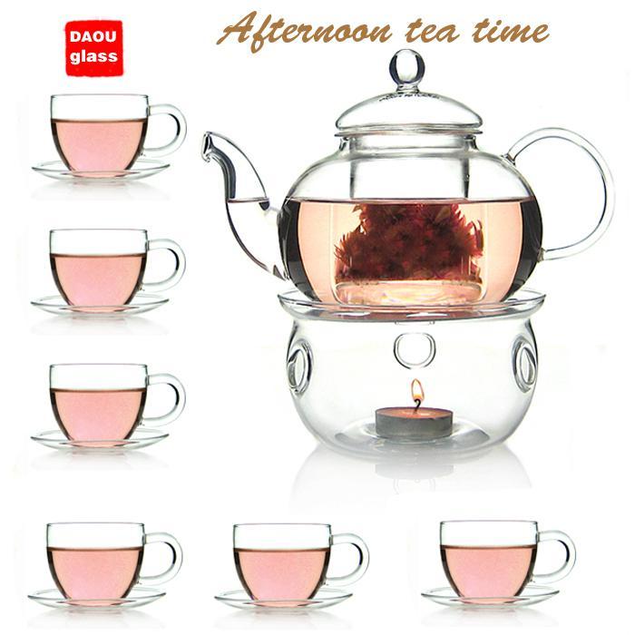 Glass Tea Set 600ml Heat Resistant Glass Teapot Warmer