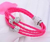 Wholesale Brand New Shamballa PU Braided Leather Bracelet CZ Disco Crystal Bead Bracelet Handcraft Bangle Colors Sale