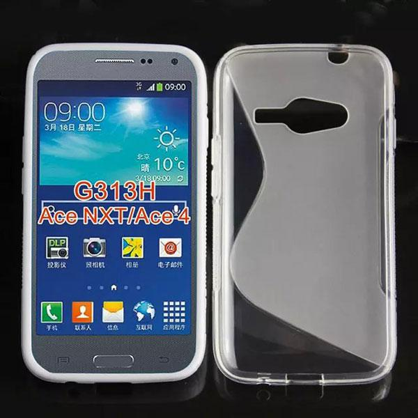 Buy S line Wave shape X soft clear crystal Gel TPU Silicone skin back case cover cases Samsung Galaxy Ace4 ACE 4 NXT G313H 510
