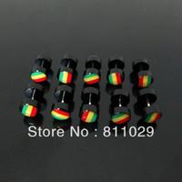 Wholesale OP illusion reggae cheaters mm black rasta color print fake plugs