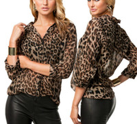 Wholesale 2014 Autumn HOT Womens Sexy Leopard Print Long Sleeve Button Down Chiffon Blouse Shirt Tops DH04