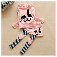 Cheap Red and pink color girls autumn winter clothes cute girl outfit rabbit printed jumper+legging skirts 2pcs set for baby girls kids suit