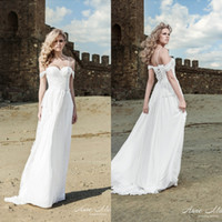 Cheap Unique 2014 White Sheath Beach Wedding Dresses Spaghetti Chiffon With Lace Off-the-Shoulder Strap Peplum Sweep Train Lace-up Bridal Gowns