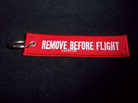 Wholesale 2 Embroidered Keychain Remove Before Flight Keychain Luggage Tag Zipper Pull Woven Key Ring