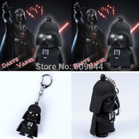 Wholesale retail Star Wars Darth Vader Keychain Accessories Sound Holder with Flash Light LED Creative Key Ring Gift Toy