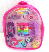 Wholesale Hot Gift Set backpack Cute My Little Pony Design Style Children Jewelry Set Hair bands hairpin hair comb mirror Popular Gift