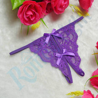 sexloves - Lace Crotchless Floral Bowknot Thong Women Sexy Panties Lingerie Sex Erotic Costumes