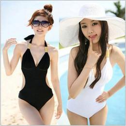 Sexy White Woman's Bikini Swimsuit Swimwear One Piece Monokini Halter Back Tied Summer Swimsuit Bathing Suit Swimwear Plus size M L XL XXL