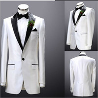 Cheap Custom Made White Groom Tuxedos 2014 Men's Suits Groomsman Formal Bridegroom Wedding (Jacket+Pants+Tie+Vest) bespoke Suit Free Shipping