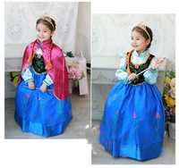 TuTu Spring / Autumn A-Line Free UPS Frozen Princess Anna Elsa Dress With Cape Girl Dresses Long Sleeve Kids Children Costume Autumn Spring 5pcs lot Factory Price