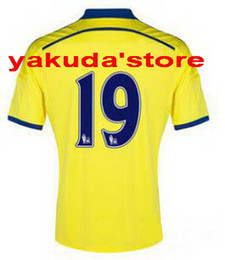 Wholesale 14 DIEGO COSTA Away Yellow Soccer Jersey New Discount Soccer Club Jersey price Top quality and Great service