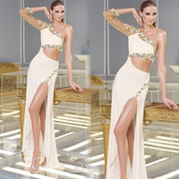 Wholesale New Sexy Pageant Dresses Mermaid Chiffon One Shoulder Beaded Gorgeous Side Split Fashion With Long Sleeves Formal Prom Gowns W6025 Hot