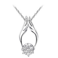 precious jewelry - Angel Wing S925 Sterling Sliver Necklace Wear Ways Design Precious Austria Crstal SWA Elements Crystal Jewelry Necklace ON25
