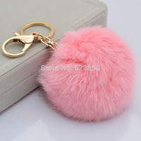leather key ring - Cute Genuine Leather Rabbit fur ball plush key chain for car key ring Bag