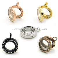 Wholesale mini floating living locket with crystals pendant mm stainless steel origami owl magnetic glass
