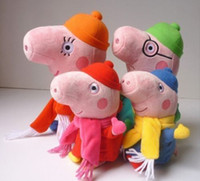Wholesale New set Winter style George Peppa Pig Family Soft Plush Toys Stuffed Doll Kids Baby birthday present and christmas gift