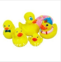 Cheap Wholesale Bath toy Rubber duck sets PVC duck Bath Toys for children water games 6pcs Set 15sets lot Fast delivery Free shipping