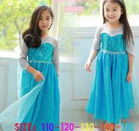 TuTu Summer as picture Girls Frozen Dress New 2014 Children Princess Elsa Gray Sleeve Sequin Dress With Blue Wape Children Cartoon Clothing Birthday Christmas Gift