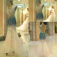 rhinestone see through dress - 2015 Prom Dress See Through Corset Special Celebrity Cocktail Dresses Blue Rhinestones Beaded Trumpet Wedding Party Evening Dress