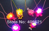 Wholesale OP Candy Colored Cartoon Plastic Led Flash Necklaces Luminous Light Pendants Creative Colorful Party Pendant Toys Gifts