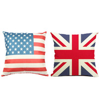 throw pillows square - Beautiful US UK Flag Cotton Linen Square Decorative Throw Pillow Case Cushion Cover quot X18 quot