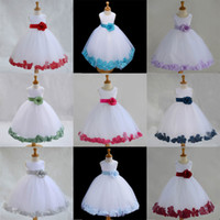 Wholesale Princess Cute Lovely Petals Flower Girl s Dresses Back With Bowknot A Line Organza Beautiful Girl Dress for Wedding Party Gowns Custom Made