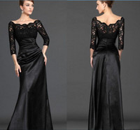 Wholesale 2016 Distinctive Black Lace Mother of the Bride Dress Off The Shoulder Long Sleeve Column Floor Length Satin Prom Evening Dress WH599