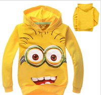 Unisex childrens wear - 2014 Hot sale new style boys girl hoodies top coats autumn kids wear despicable me minions cartoon childrens hooded clothingTopB21 piece