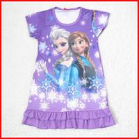 nighties - 2014 new girls summer frozen anna elsa olaf dresses children purple frozen sleepwear nightgown pajamas nightie dress nighty nighities melee