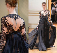 Cheap 2014 Fashion Black Long Sleeve Pageant Dresses Evening Gowns Prom Dress A-Line Lace Applique Party Dress Zuhair Murad Covered Button Cheap