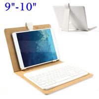 Cheap Universal Bluetooth Keyboard + Leather Case Stand for iPad Samsung Tab 9-10inch Tablet - White,red,black,rose