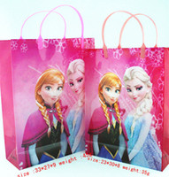 Cheap New 10pcs Frozen Elsa Anna Gift Bags kids birthday party supplies frozen gift loot bags hand bag Shopping Bags,pink & purple