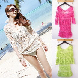 Wholesale Sexy Girls Crochet Swim Suit Bathing Suits Bikini Swimwear Cover UP Beach Dress
