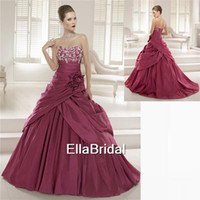Wholesale Attractive A Line Sweep Train Burgundy Soft Satin Wedding Dresses With Beaded Flowers Sweetheart Sleeveless Bridal Gowns Dress