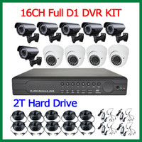 Wholesale Full CH D1 HDMI P H DVR Kit SONY CCD TVL X Outdoor Camera x Indoor Dome Camera MM Varifocal Lens With TB Hard Drive