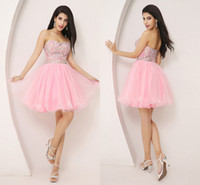 short sparkly prom dresses - 2014 Real Image Crystal Pink Tulle Homecoming Short Prom Dresses A line Beads Sparkly Mini Cocktail Party Girls Pageant Gowns Cheap HY SSJ
