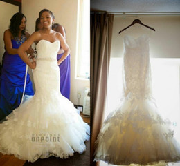 Wholesale 2014 Amanda novias Custom Made High Quality Lace Wedding Dresses Sweetheart Strapless Mermaid Wedding Dress With Applique Beads