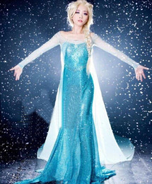 Wholesale Frozen Queen Elsa Dress Costume Custom For Adult women snow queen frozen dress Princess Dress Blue Sequined Cosplay Costume for party JK