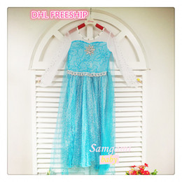 Wholesale DHL FREEsp New frozen Elsa dress girls cartoon long sleeve lace dresses kids party dress blue silver princess costume clothes J081501