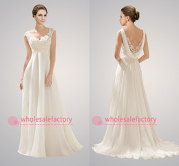 Wholesale 2014 Empire Beach Wedding Dresses Sexy V Neck Appliques Lace Beaded Backless A Line Chiffon Maternity Bridal Gowns CPS072 vestidos de noiva