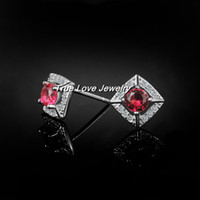 american the beautiful - 2014 new real sterling silver stud earrings with Zircon Fashion Jewelry beautiful wedding gift for the bride