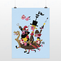 Cheap Light Art Drawing Pirate Game Modern Blue Cute Cartoon Picture Pop Poster Prints Kids Room Home Wall Decor Custom DIY Gifts Canvas Paintings