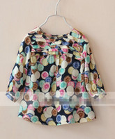Wholesale Long Sleeve Kids Girls Shirts Colorful Circle Printing Shirts Dresses Europe Hot Sale Children Clothing Beige Dark Blue Lovely Clothes E0787