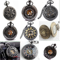 Men's alloy chain suppliers - 50pcs Factory Supplier Various Design Pattern Luxury Roman Half Hunter Skeleton Pocket Watch Black Copper Dial Vintage Elegant Chain Watches