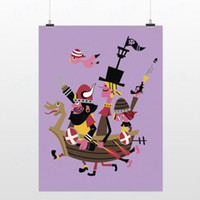 Cheap Light Art Drawing Pirate Game Modern Purple Cute Cartoon Picture Pop Poster Prints Kids Room Home Wall Decor Custom DIY Gift Canvas Painting