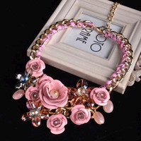 Wholesale 2014 hot new necklaces gemstone luxury flower crystal jewel metal stereo short necklace female hyperbole designer statement neon necklaces