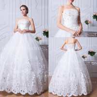Wholesale New Arrival Lace Wedding Gowns Dress Elegant Strapless Floor length Dress Bridal Dress Big Discount Made in China BZP0384