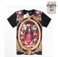 Cheap 2014 Holdem Denim men's t-shirt round neck crown lion head silk fashion shirt casual cotton Sweethearts outfit ummer Tees Tops