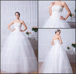 Wholesale 2014 Cheap White Ball Gown Wedding Dresses with Strapless Appliques Lace Beaded Lace up Back Tulle Floor Length Wedding Bridal Gowns BZP0373