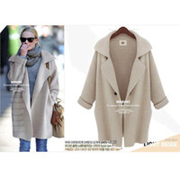 womens jackets - 2014 Fashion Womens Wool Cardigan Sweater Loose Long Trench Coat Jacket DH04